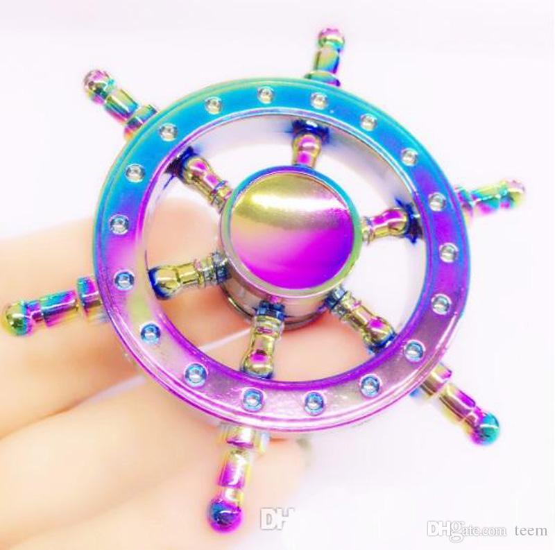 DIY pirata leme de latão mão spinner tri foco dedo foco de dedo bluetooth edc adhd autismo girando top top spinners gyro ansiedade brinquedos