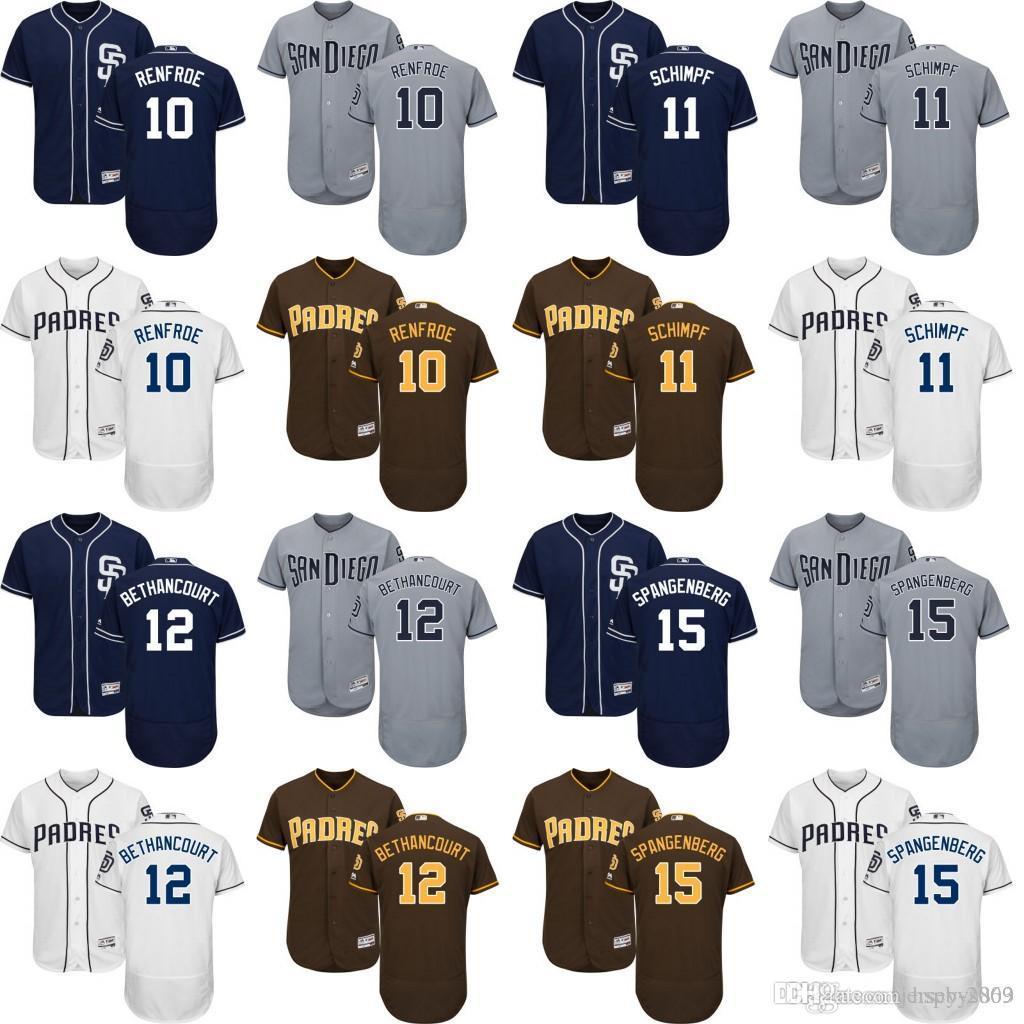 b77caa4104f Cory Spangenberg Jersey 2017 Cheap 2017 Flex Base MenS San Diego Padres 10  Hunter Renfroe 12 Christian Bethancourt 11 ...