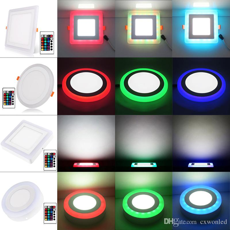 LED Panel Light RGB with Remote Control Surface Mounted Ceiling Recessed Downlight Watts 6W/9W/18W 24w Round/Square LED Lamp