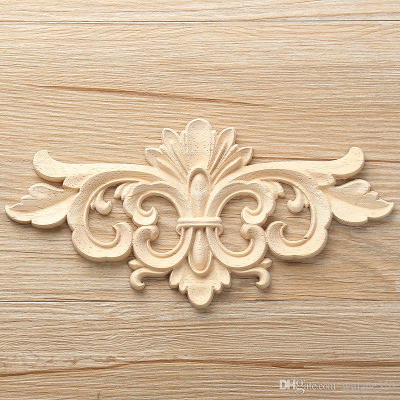 2018 2 Size Vintage Unpainted Wood Carved Decal Corner Onlay ...