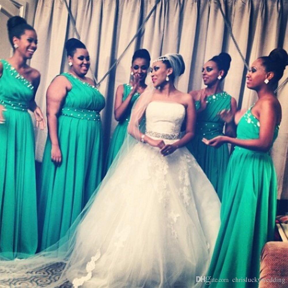 Bridesmaid Dress Long One Shoulder Chiffon Bridesmaid Dresses 2017 ...