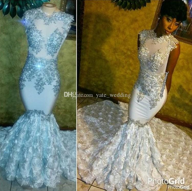 ebd90a3645 Shining Beading Floral White Mermaid Prom Dresses Jewel Neck Sleeveless  Appliques Black Girls Pageant Dresses Formal Evening Gowns Prom Dresses  Singapore ...