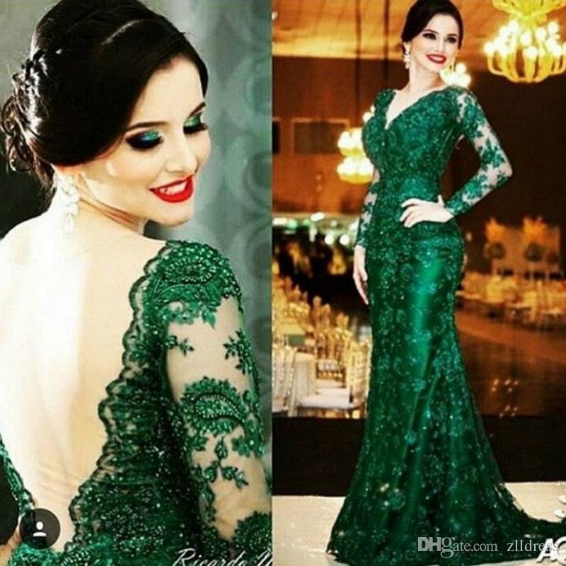Smaragdgrün Mutter der Braut Kleider Spitze V-Ausschnitt mit langen Ärmeln öffnen zurück Trompete Abend Party Kleider für Damen hohe Qualität