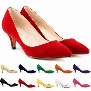 Chaussure Femme Zapatos Mujer Womens Faux Velve Flock Party Platform Pumps Low Heels Sexy Party Shoes Women US Size 4-11 D0060