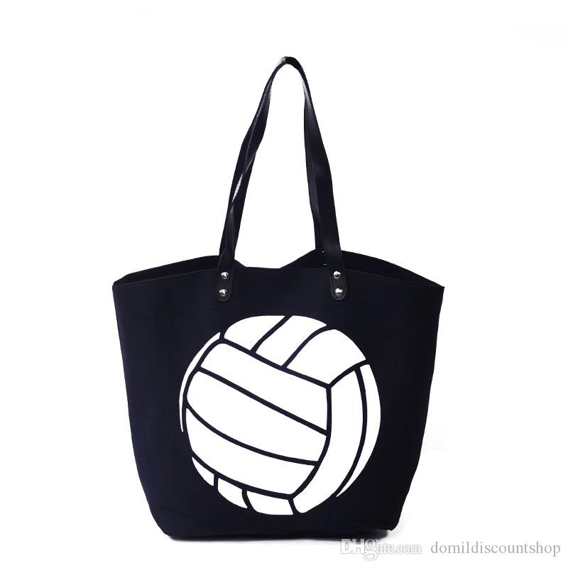 Wholesale Volleyball Women Tote Bag Black Sports Handbag Large Capacity  Casual Tote with PU Faux Leather Handle DOM348 215a9a60a8