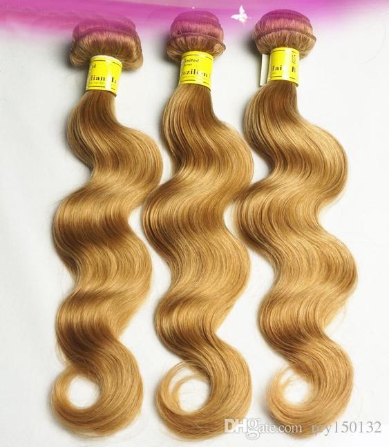 Brazilian virgin hair honey blonde body wave human hair virgin brazilian wave hair weaves,Double drawn,No shedding,ta