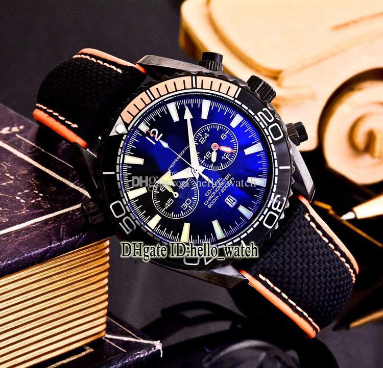 Высокое качество Planet Ocean 600M Co-Axial 215.32.46.51.01.001 черный циферблат кварцевый хронограф мужские часы кожаный ремешок дайвер часы