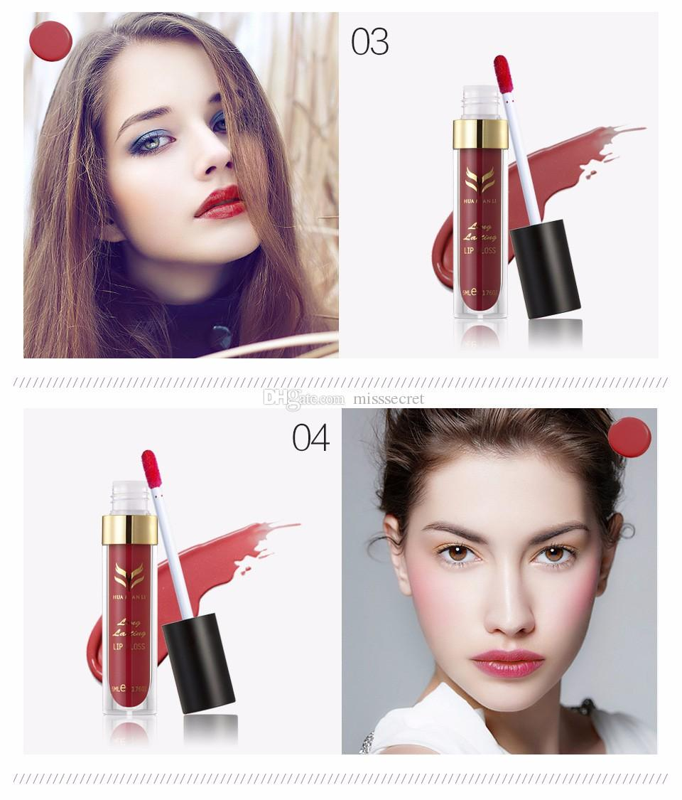 Makeup Huamianli Matte Liquid Lipstick Tint Lipgloss Cosmetics Batom Lip Gloss Waterproof Long Lasting lip Makup Cream