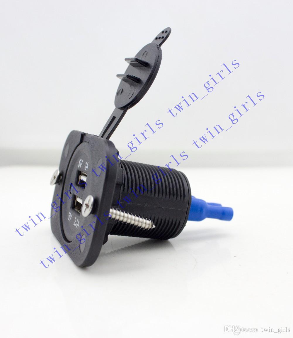 Çift USB Araç Şarj Motosiklet Scooter ATV Tekne için 12 V 2A Suya Dayanıklı Soket Güç Adaptörü