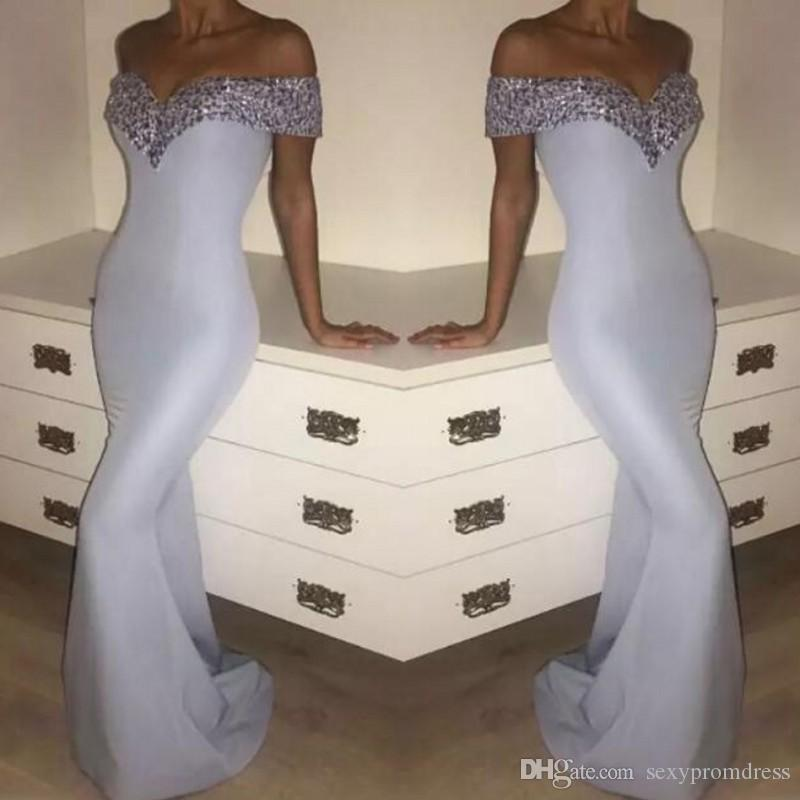 Elegant White Mermaid Evening Gowns Crystals Beaded Off Shoulder ...