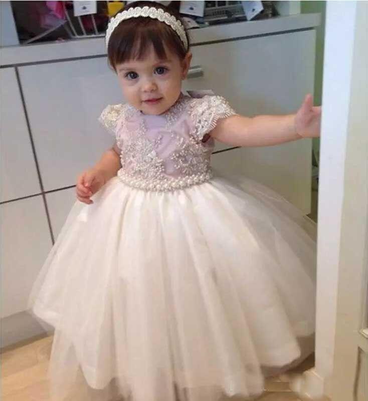 2017 Toddler Little Girls Flower Girl Dresses Floor Length White Tulle With Short Sleeves Luxury Beading Pearls Ball Gown Kid Communion Gown