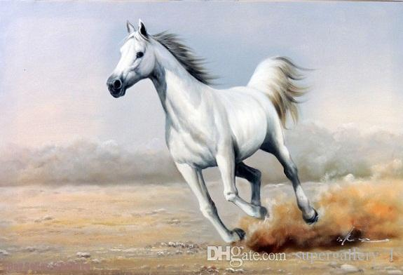 Best Framed White Horse Galloping Classic Modern Equine,Genuine ...