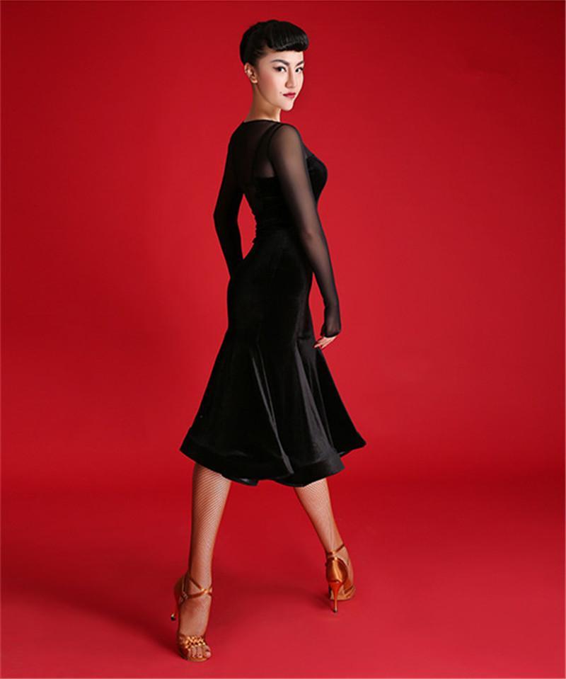Черное платье для взрослых / для девочек в стиле латинского танца Сальса танго-чача бальное платье танцевальное соревнование шить сексуальный V-воротник с длинным рукавом бархатное платье