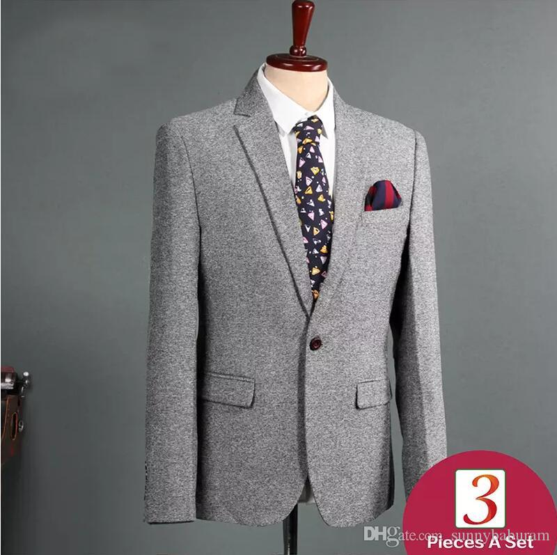Men's suits Gray Best Man Bridegroom Suits Three piece suit for man fashion Formal Wedding suit Business Wears Prom Tuxedos Wholesale 017