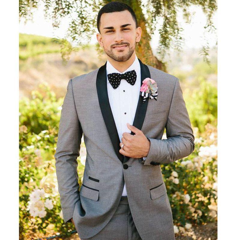 Acheter Style Classique Marié Tuxedos Garçons D honneur Un Bouton Gris  Clair Meilleur Homme Costume Mariage Hommes Blazer Costumes Veste + Pantalon  + ... c5baa30334e