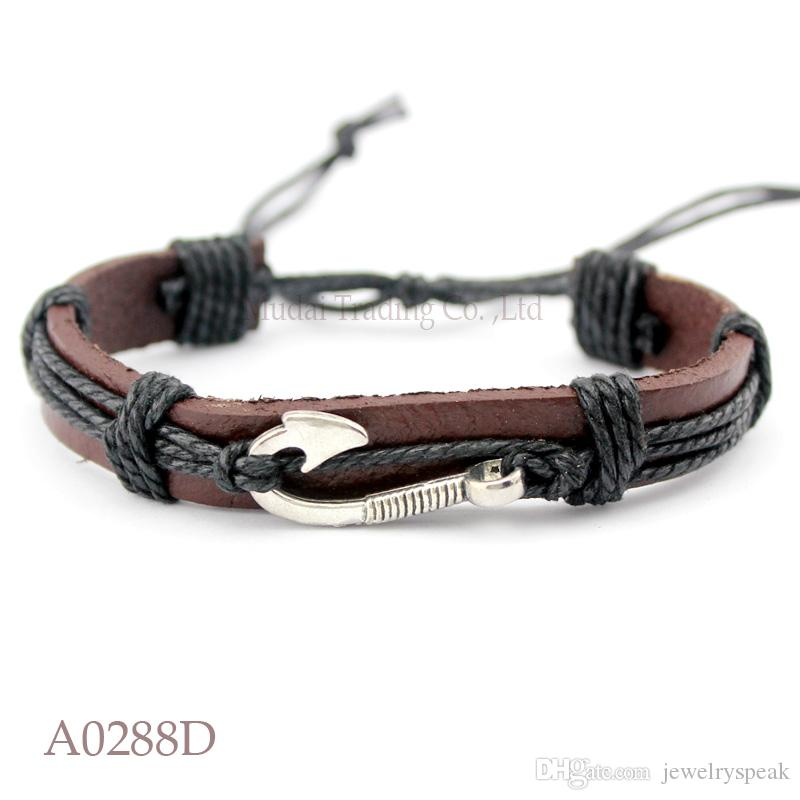 Customizable ANTIQUE SILVER Fishing Hook Charm Adjustable Leather Wrap Cuff Bracelet Ocean Casual Friendship Jewelry Gift For Womenn And Men