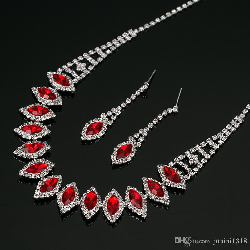 2017 New silvery Plated Multicolor Austrian Crystal Chain Necklace + Earrings Jewelry Sets Women Jewellery