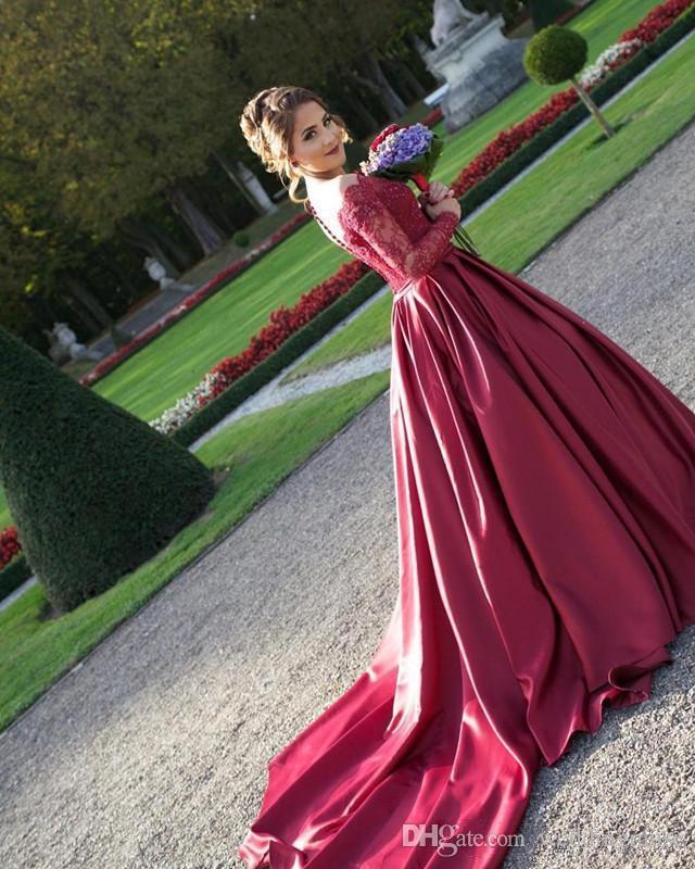 Bordo Fantezi Yeni Vestidos De Fiesta Gelinlik Modelleri Dantel Aplikler Boncuklu Uzun Kollu Seksi Düğme Geri A-line Resepsiyon Parti Elbiseler