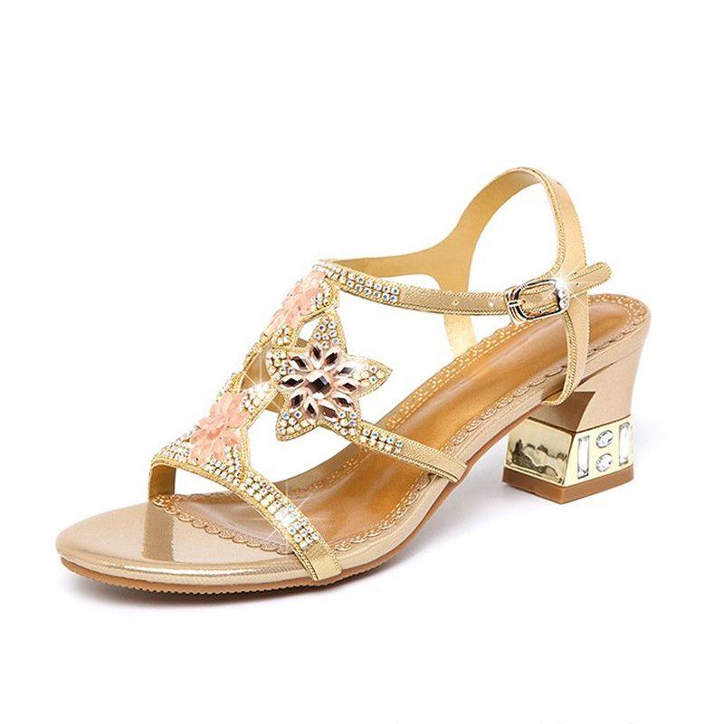 d7800e4ac23b Summer Shoes Woman Boho High Heels Sandals For Women Fashion Womens Sandals  Rhinestone Ladies Summer Shoes Shoe For Womens Shoe Pumps From Zh150108