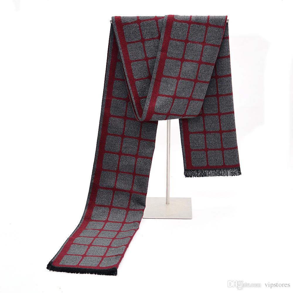 Diseño clásico de invierno bufanda de algodón para hombre largo caliente cachemira hombres bufandas chales suaves regalo para hombre de negocios informal hombres bufanda del mantón