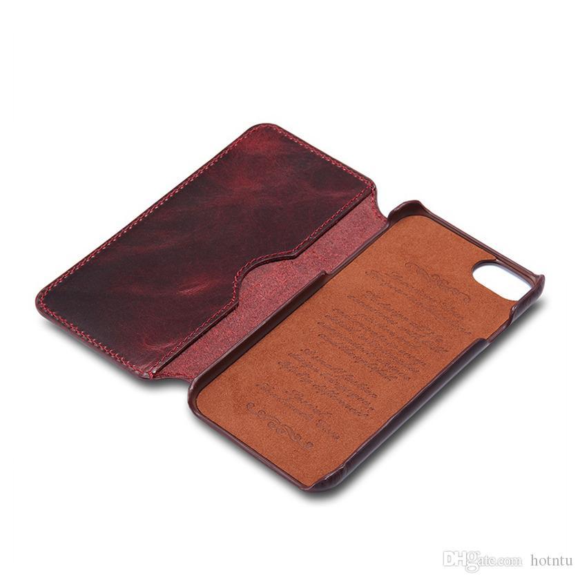 Universal Wallet Case für iPhone 6 6S 7 Plus 7Plus Luxus natürliche echte Echtleder Handytasche Retro Vintage Flip Cover