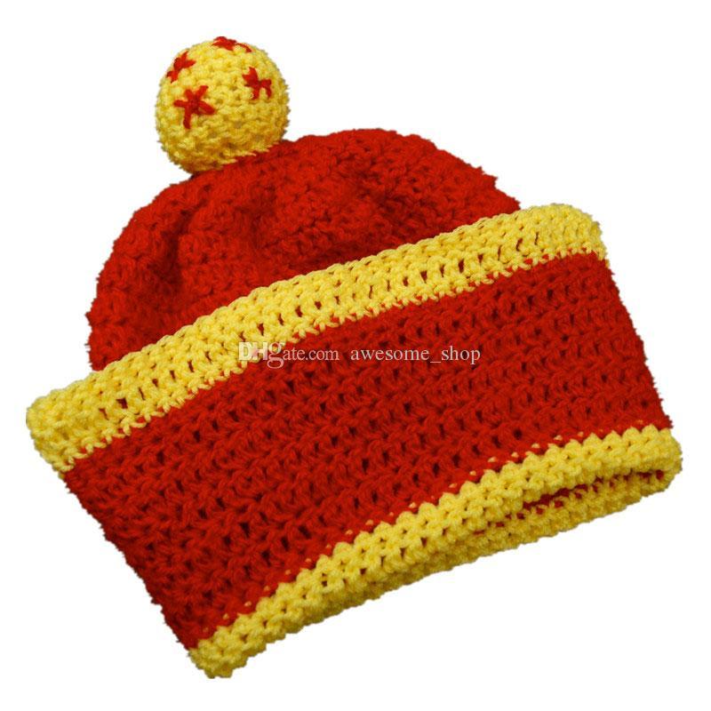 Novità Cappello Son Gohan, fatto a mano Knit Crochet della ragazza del neonato dei cartoni animati Beanie, cappello di inverno Rosso, Bambino piccolo puntello della foto