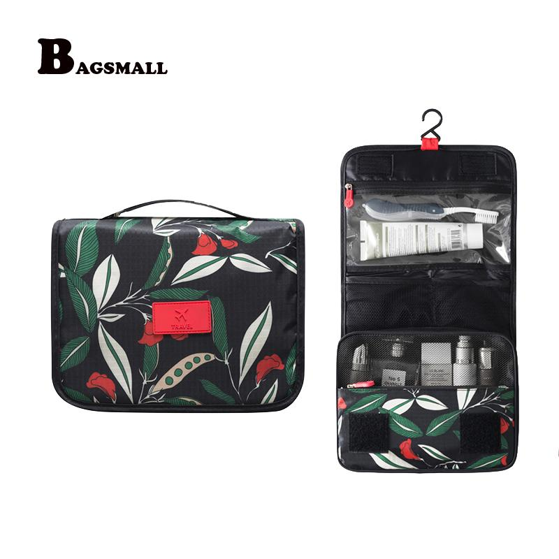 Wholesale- BAGSMALL Portable Beautician Toiletry Bag Hanging Cosmetic Bag Waterproof Makeup Organizer Folding Travel Accessories Suitcase