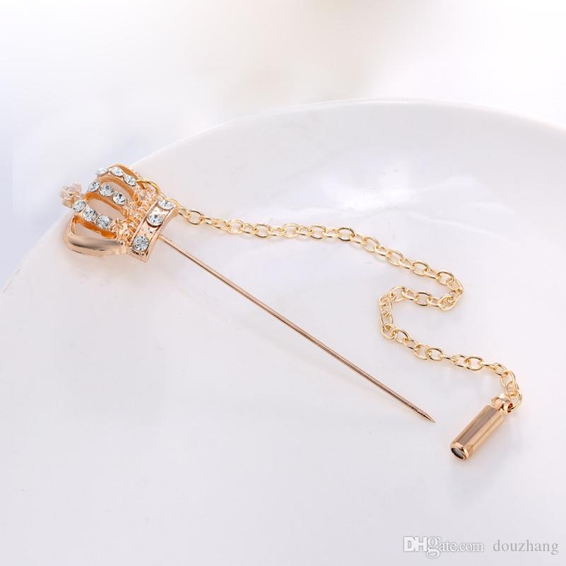 Spilla a catena unisex con strass Crown Spilla a catena Spilla Boutonniere Button Stick Spille Wedding Party Accessories Lotti