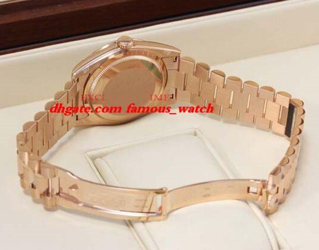 Neue Mode Luxus Edelstahl Armband 41mm Schokoladen Diamant Rubin Rubin Wählt Everose Gold 118235 Chodrp Mechanischer Mann Watch Armbanduhr