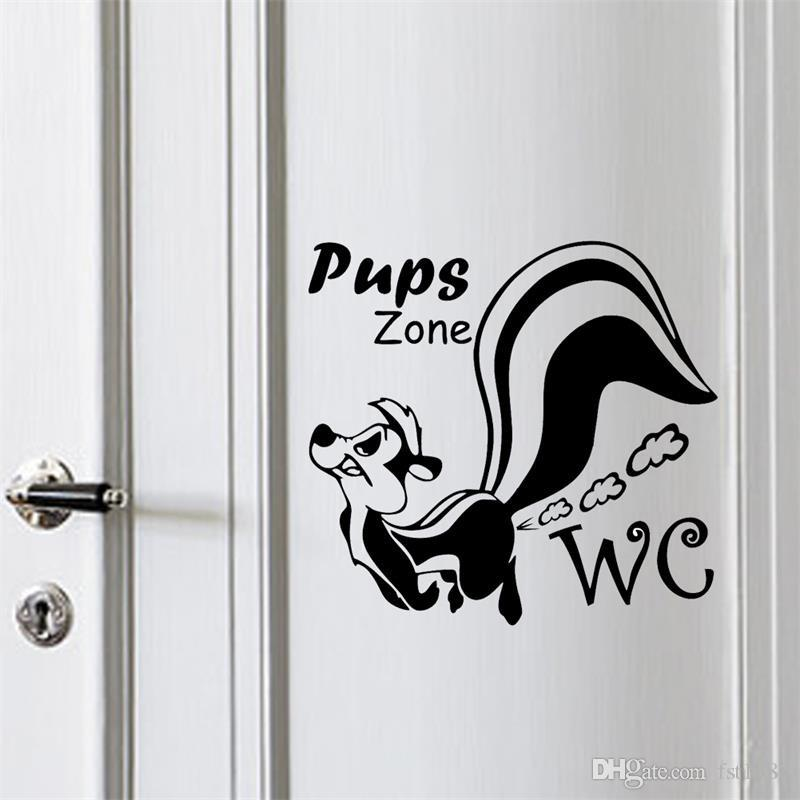 Squirrel Toilet Stickers Removable Art Vinyl Washroom Wall Sticker Mural Decal Pups WC Decals Home Decorations