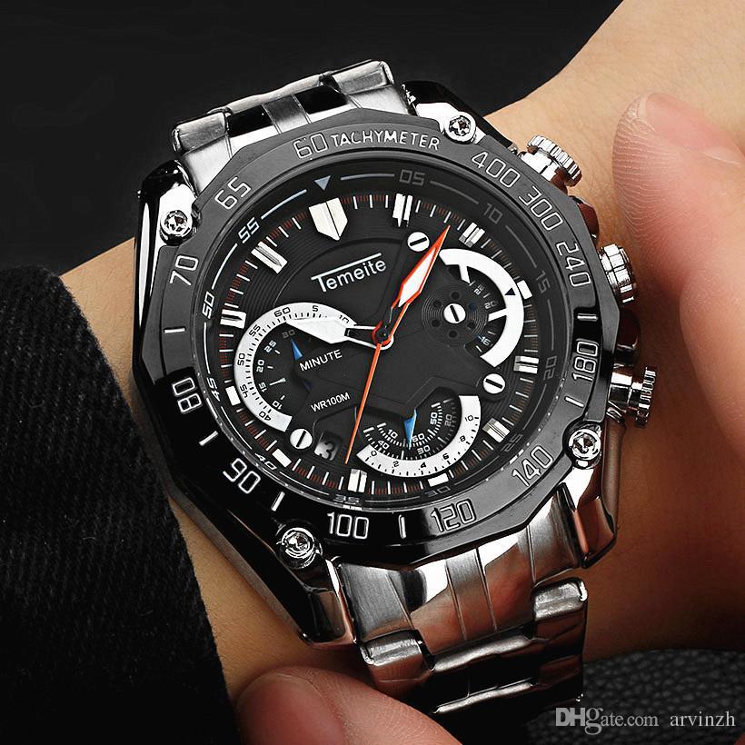 Männliche Beiläufige Wasserdicht Art Edelstahluhren Uhr Silberne Chronographkalenderuhr 6 Sport Hände MännerDie LaufenMilitärische F1JlKc