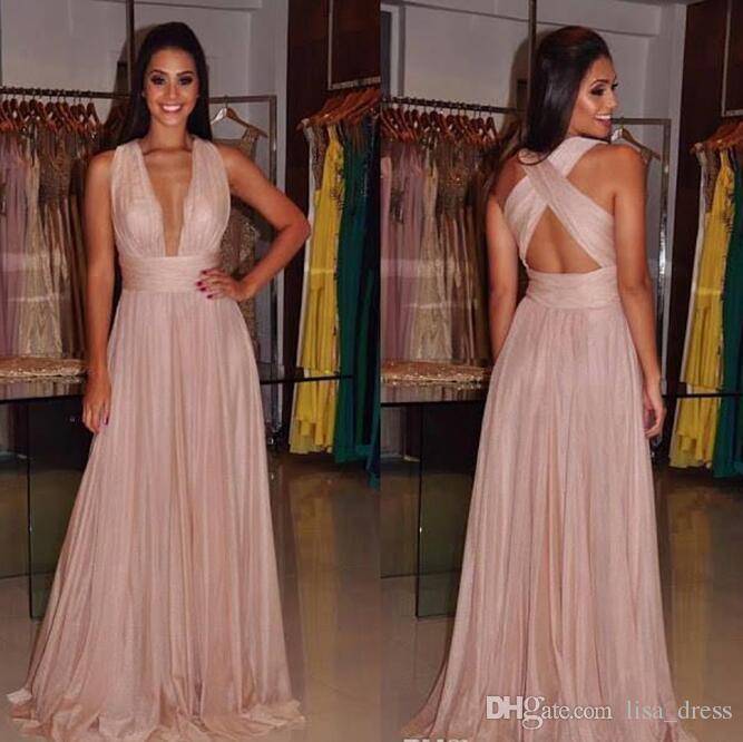 2017 sexy einzigartige criss cross backless prom kleider einfache a-linie falten abend brautjungfer kleider v-ausschnitt plus größe