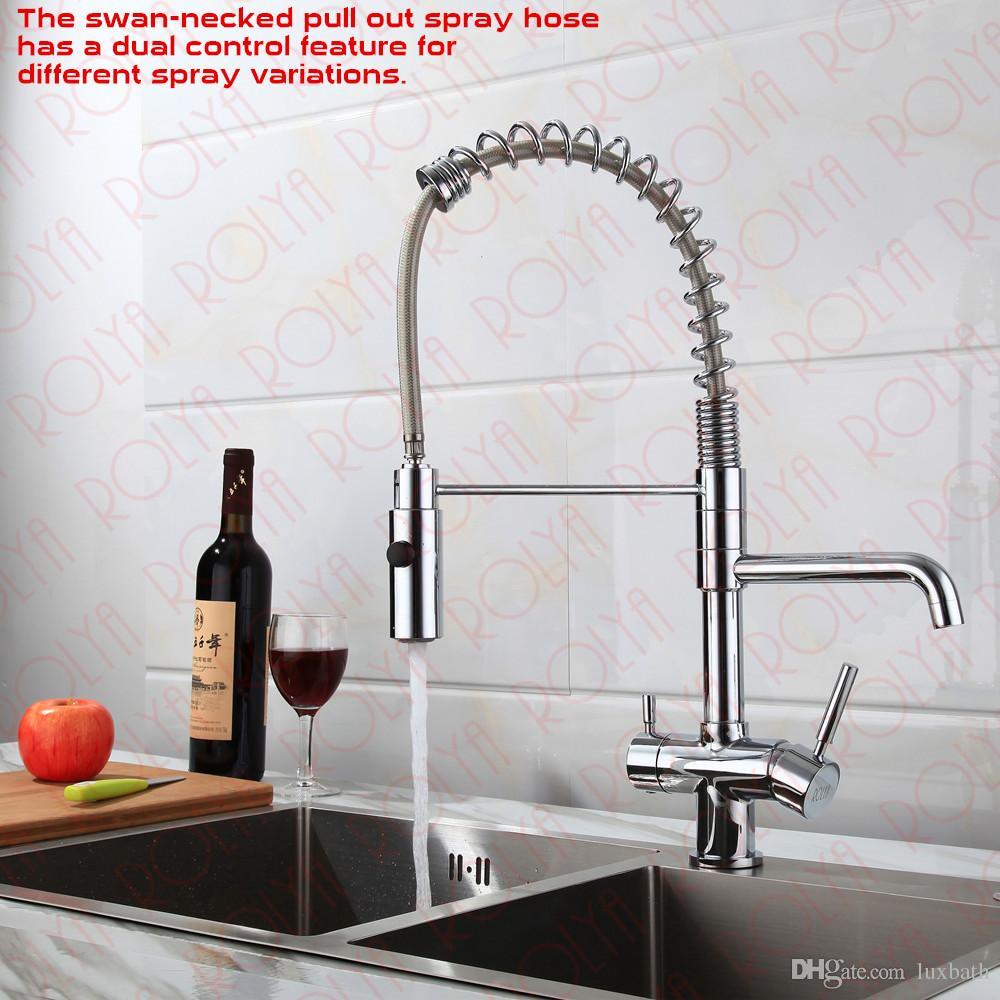 Rolya New Commercial TRI Flow Küchenhahnhahn mit Frühlingsschlauch-Waschbecken-Mixer Professional 3-Wege-Wasserfilter-Tap