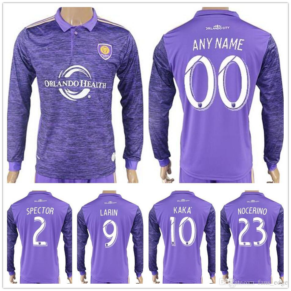 2018 2017 2018 Orlando City Long Sleeve Football Jersey Shirt 2 Spector 9  Larin 10 Kaka 23 Nocerino Shea Collin Sewell Purple Soccer Jerseys From ... 9f7302647