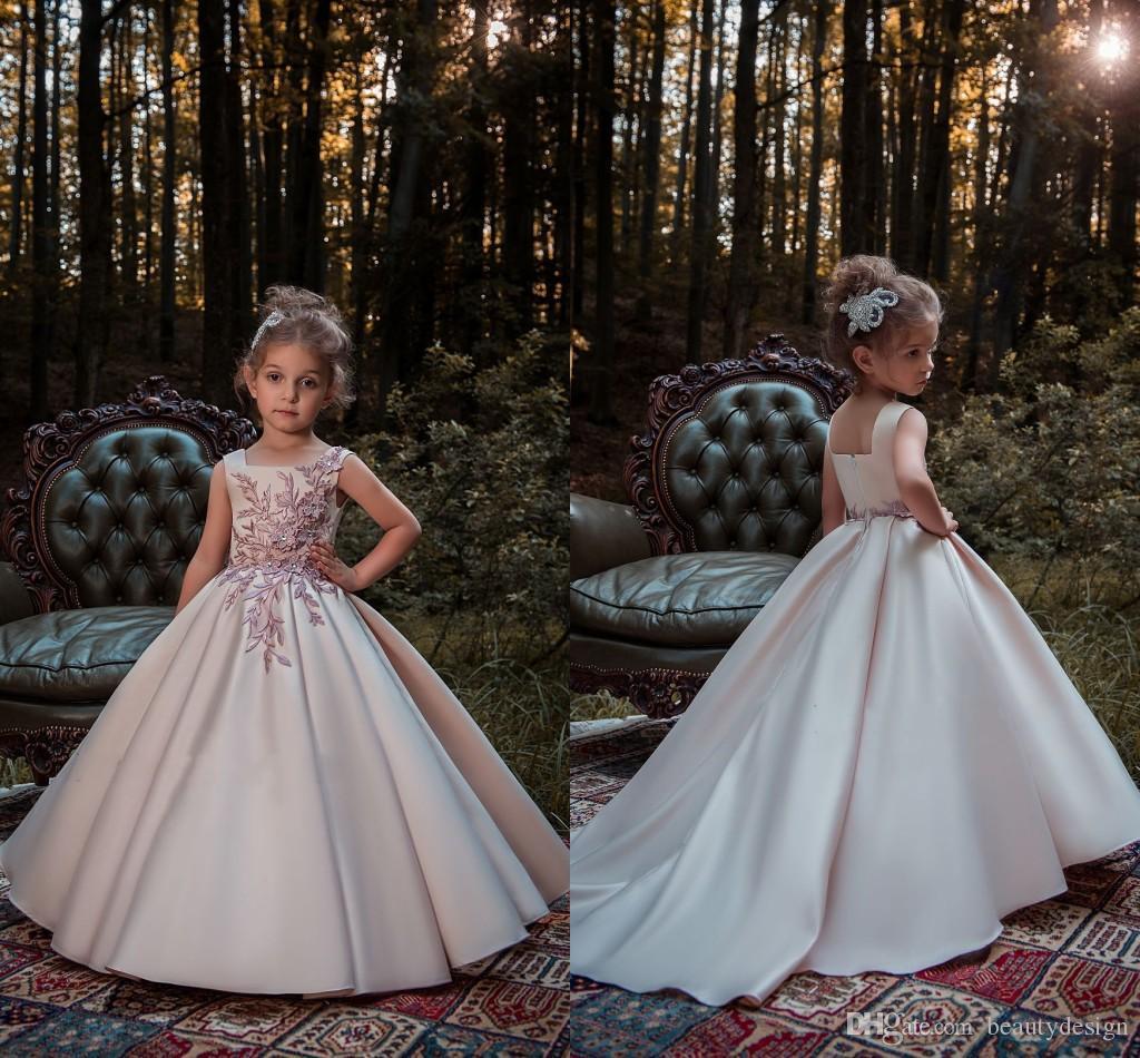f506ee33043b Blush Pink Princess Flower Girl Dresses 2018 Lace Applique Beads ...