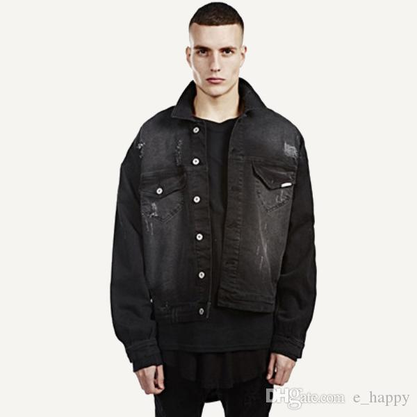 Men'S Black Denim Jacket Coat Hip Hop Ripped Jean Jackets Men Boy ...