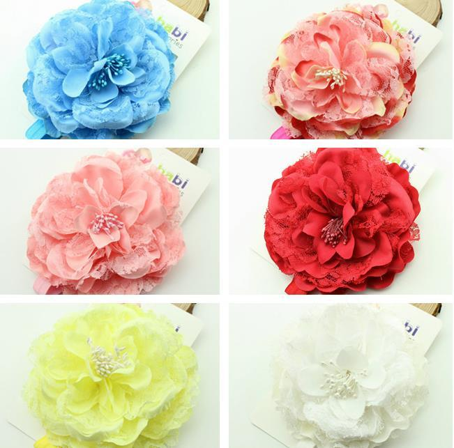 Europe Baby Lace Big Flower Hairband Head Bands Infant Toddler Kids Elastic Headwear Prop Photography Children Hair Accessory 13247