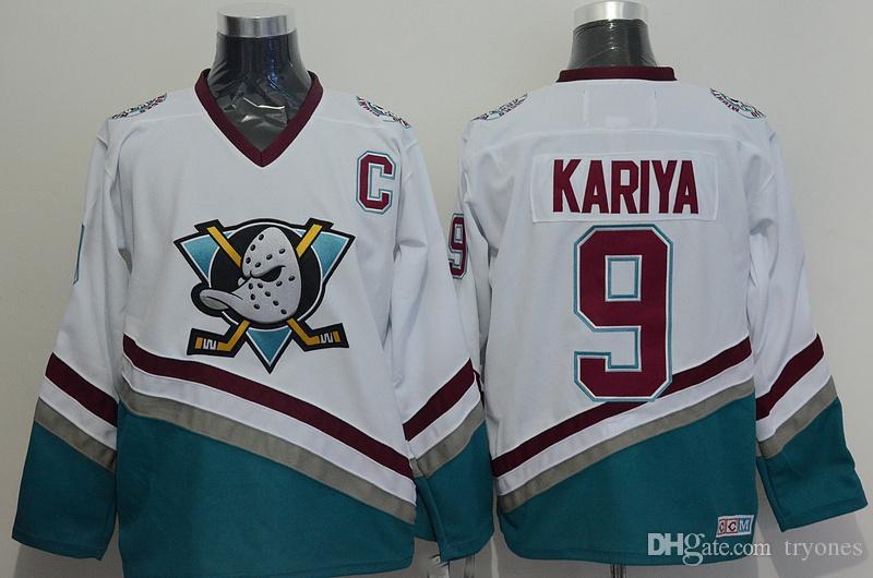 Vintage Anaheim Mighty Ducks Hokeyi Formalar 8 Teemu Selanne 9 Paul Kariya 35 Jean-Sebastien Giguere 13 Selanne 1998 CCM Jersey