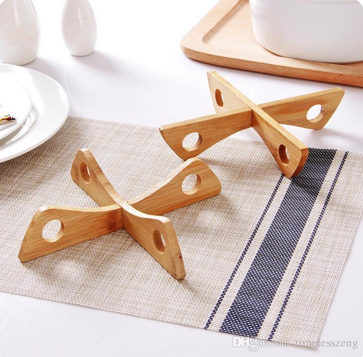 Creativo Cucina Rack Scaffali Staccabile Staccabile Forma Bambù Casseruola Isolanti Tappetini Stoviglie Da Tavola Decorazioni Da Tavola DT12