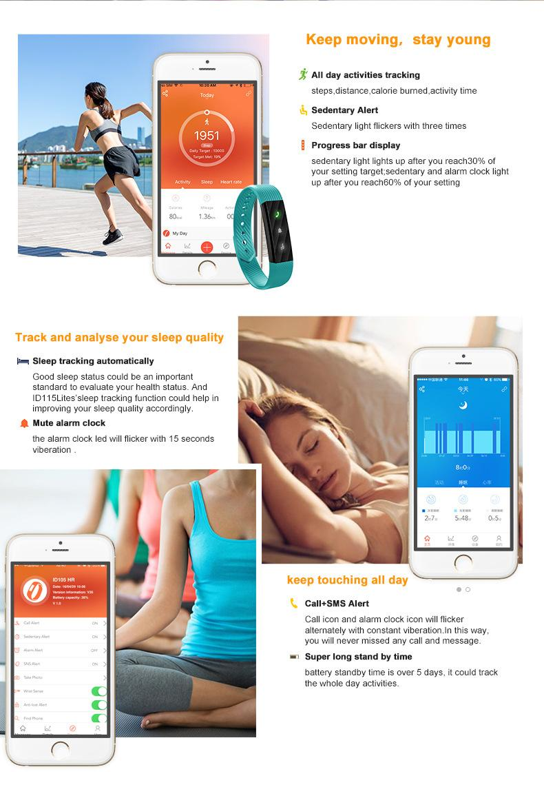 Yeni ID115 FITBIT TW64 SmartBand bileklik Spor Aktivite Tracker IOS Android için Su Geçirmez Bluetooth Spor Bilezik Su Geçirmez DHL GEMI