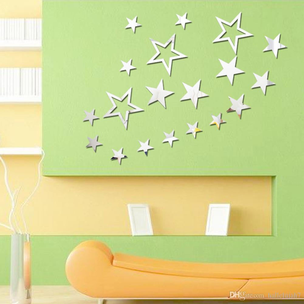 New Acrylic Mirror Wall Stickers Stars Decals Home Background Decor ...