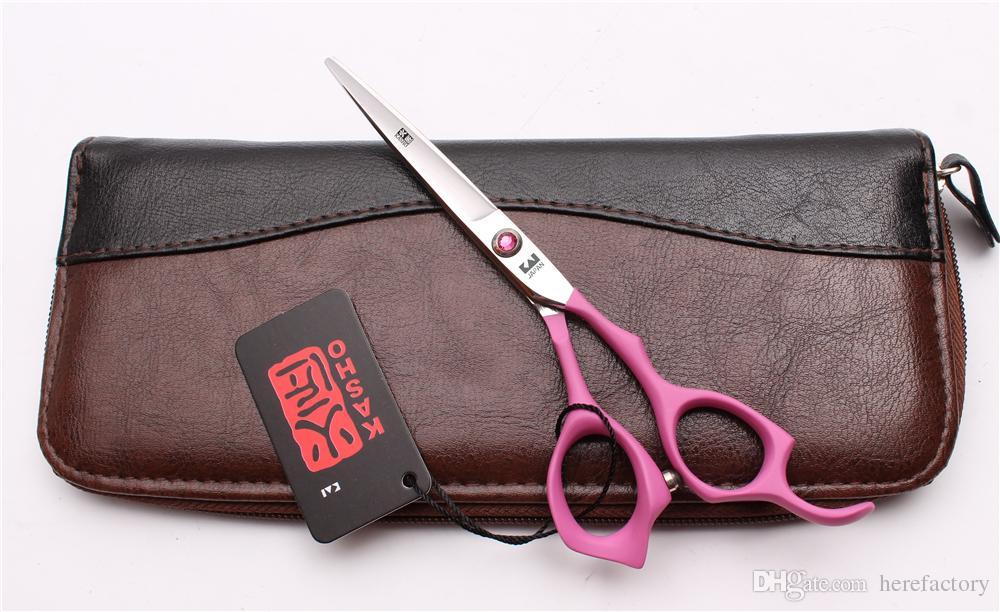 "6"" 17.5cm Japan 440C Kasho Pink Elastic Handle Professional Human Hair Scissors Barbers' Scissors Cutting Thinning Shears Style Tool H1024"