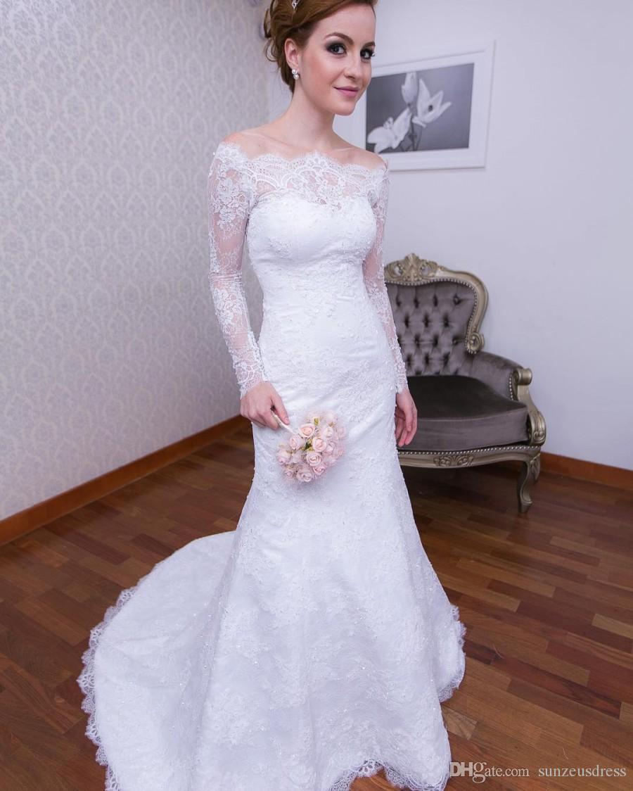 Simple Elegant Lace Wedding Dresses With Long Sleeves