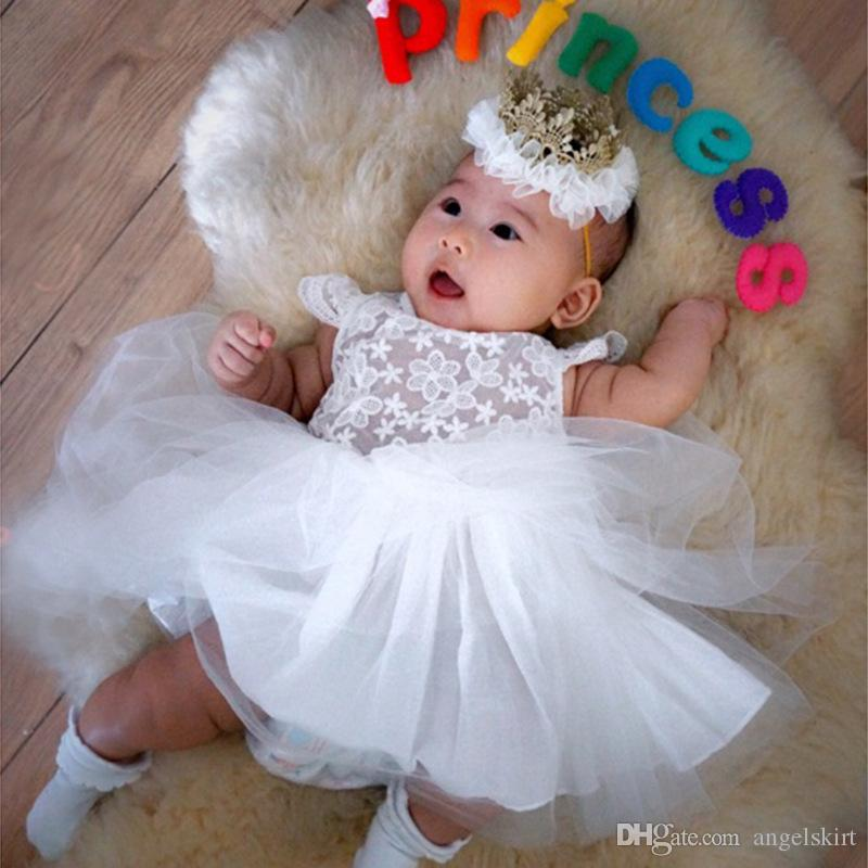 e18d7c620c9 2019 Wholesale High Quality Baby Girl Wedding Dress Sleeveless Birthday  Dress 1 Year Old Girl Princess Baby White Lace Dress From Angelskirt