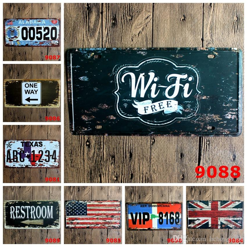 Wifi Free Car License Plate Tin Poster British Flag 30X15 CM Metal Tin Sign Restroom Iron Antique Painting One Way 5 99rjd