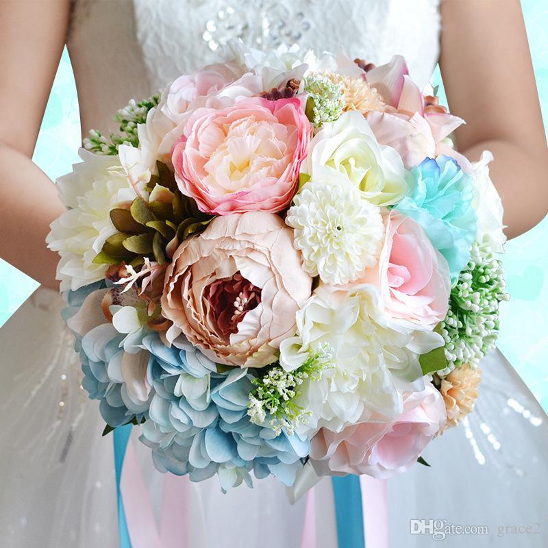 Grosshandel Kunstliche Hochzeit Bouquets 2017 Seidenblumen