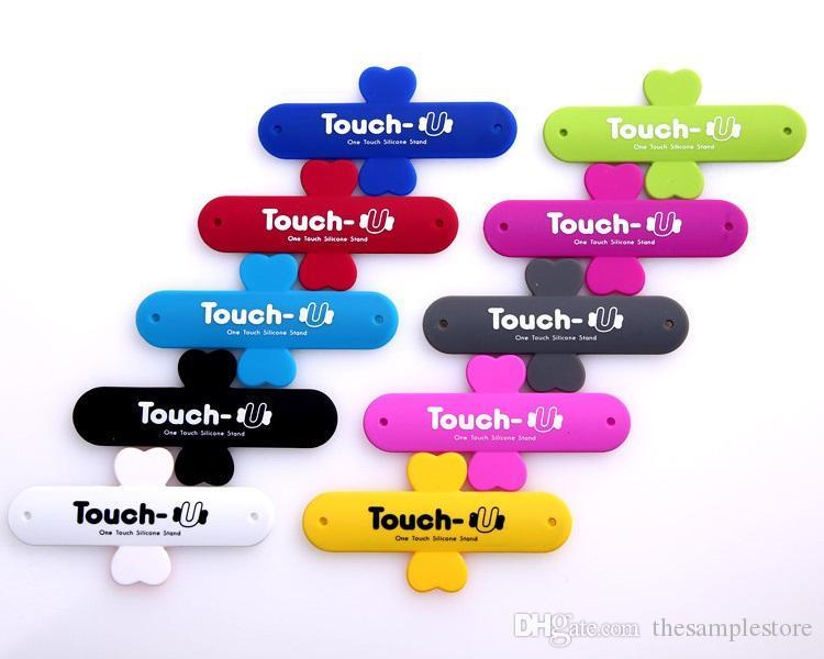 Mit Kleinbeutel Universal Portable Touch U One Touch Silikon Ständer Halter Handy Halterungen für Handy 6s plus Smartphone S7