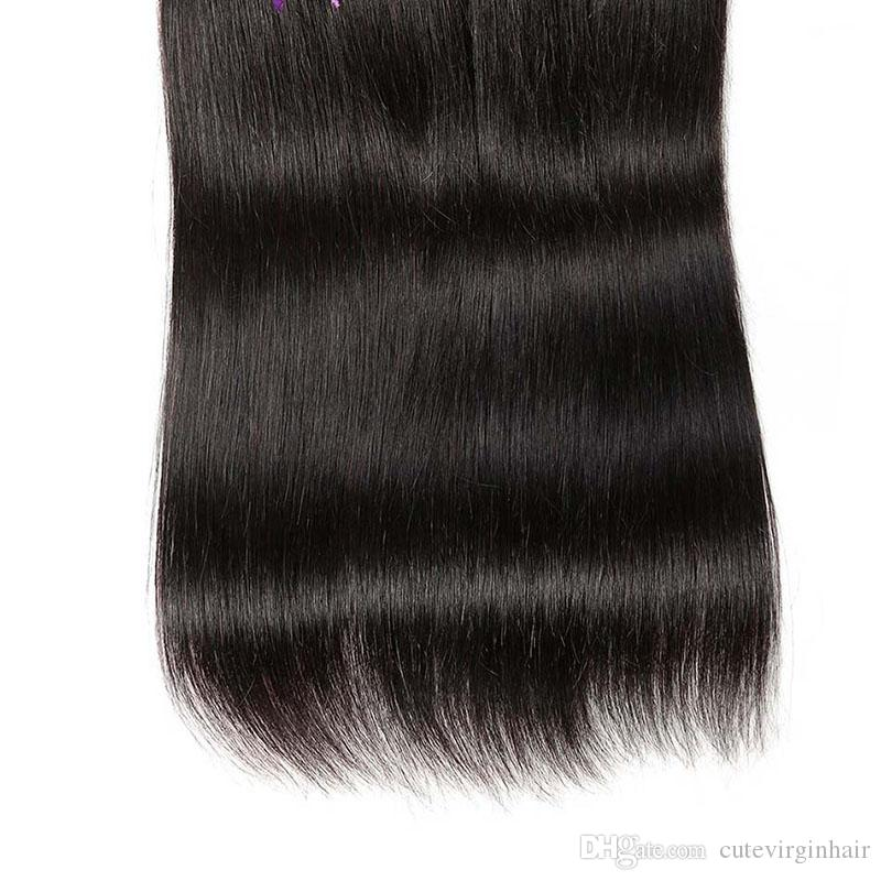 Brazilian Straight Human Hair Weaves 3 Bundles Cheap Human Hair Extensions 100% Unprocessed Virgin Hair Weaves Natural Color