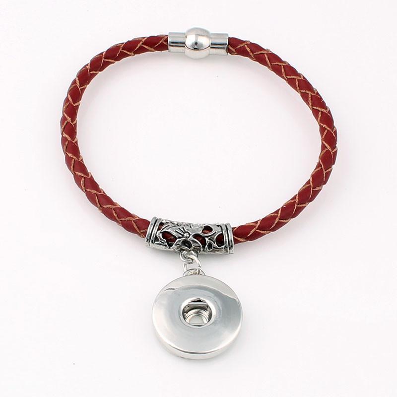 Nouveau sans fin en cuir véritable Snaps Bracelets bracelets tressés magnétiques Fit 18 / 20MM boutons Snaps Charms bijoux pour femmes ZE027