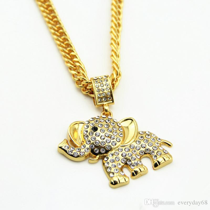 b2a14706e3c6b Hip Hop Gold Plated Crystal Elephant Necklaces Men Women Iced out Charm  Chains Cartoon Jewelry Gifts Bling Pendants